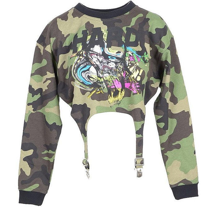 Camouflage Cotton Women's Cropped Sweater - Jeremy Scott