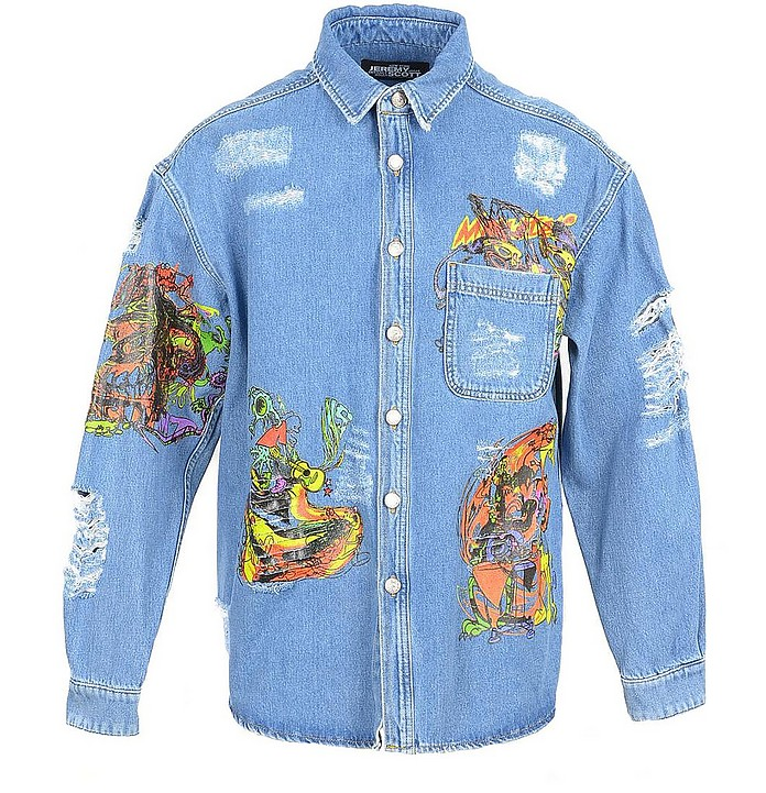 Distressed Denim Men's Shirt w/Patches - Jeremy Scott