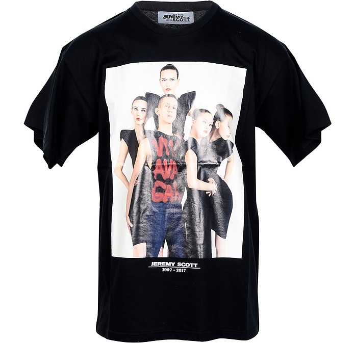 Picture Print Black Cotton Men's T-Shirt - Jeremy Scott