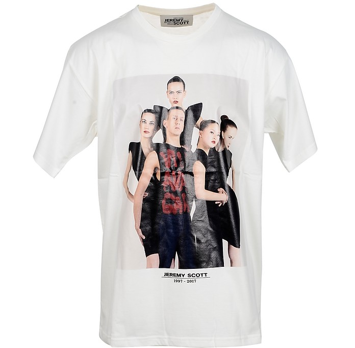 Picture Print White Cotton Men's T-Shirt - Jeremy Scott