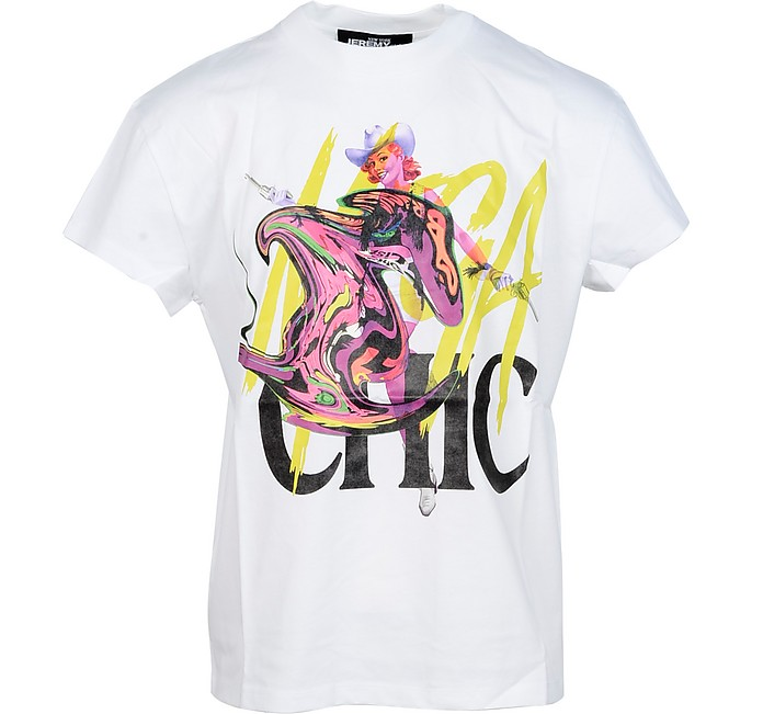 Chic Mutant Print White Cotton Men's T-Shirt - Jeremy Scott