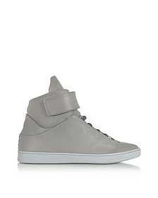 Virgilio Grey Perforated Nappa Leather High Top Men's Sneakers - Ylati