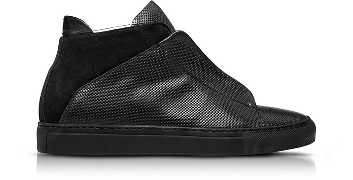 YLATI NERONE BLACK PERFORATED LEATHER AND SUEDE HIGH TOP MEN'S SNEAKERS