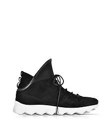 Dedalo Black Nubuck and Nappa Leather Men's Sneakers - Ylati