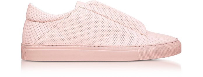 Nerone Pink Perforated Leather Low Top Men's Sneakers - Ylati