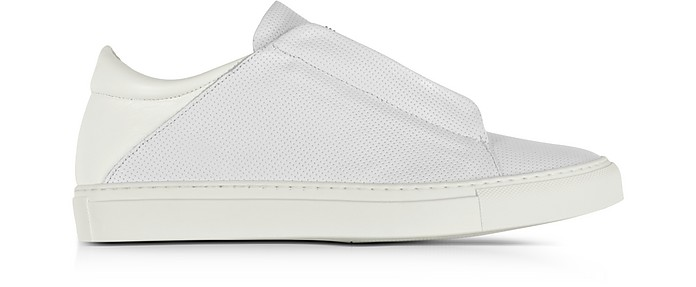 YLATI NERONE WHITE PERFORATED LEATHER LOW TOP MEN'S SNEAKERS