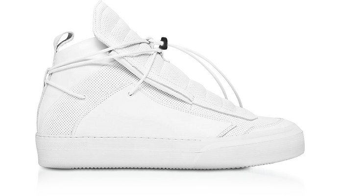 sports shoes beee3 20673 Ulisse White Perforated and Smooth Nappa Leather High Top Men's Sneakers