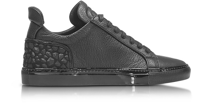 Amalfi Low 2.0 Black Diamonds Leather Men's Sneaker - Ylati