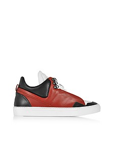 Poseidon Upper Red & Black Leather Men's Sneaker - Ylati