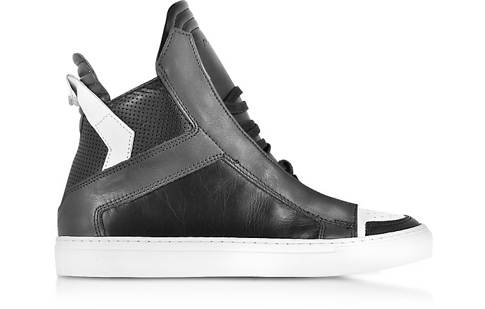 Zeus Black, Dark Grey and White Leather High Top Sneaker - Ylati