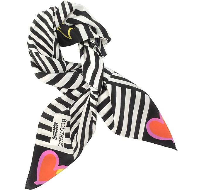 Boutique Moschino Black & White Stripe and Bow Print Crepe Silk Square Scarf - Moschino