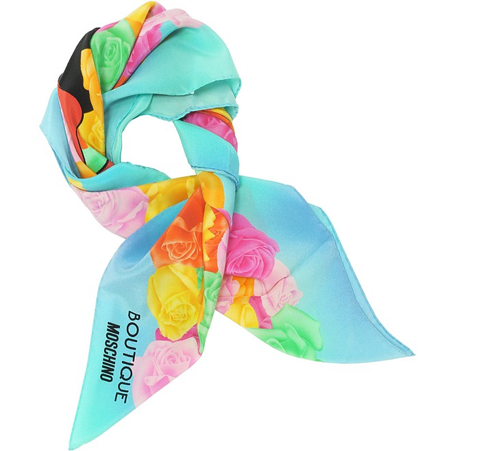 Boutique Moschino Light Blue and Multicolor Olive Oyl Cartoon & Roses Printed Crepe Silk Square Scarf - Moschino