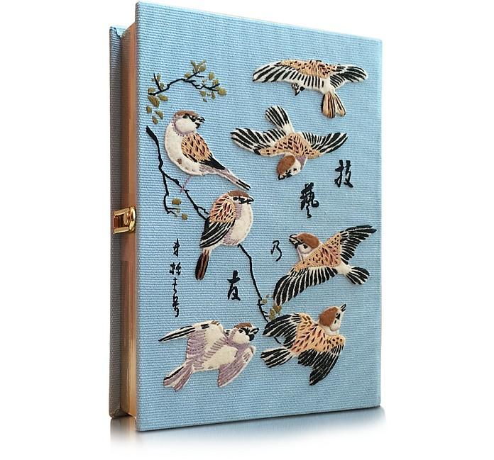 Birds Light Blue Cotton Book Clutch - Olympia Le-Tan