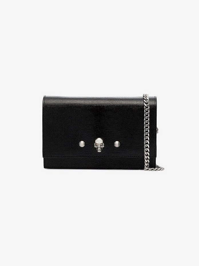 Black skull stud lizard-effect leather mini bag - Alexander McQueen