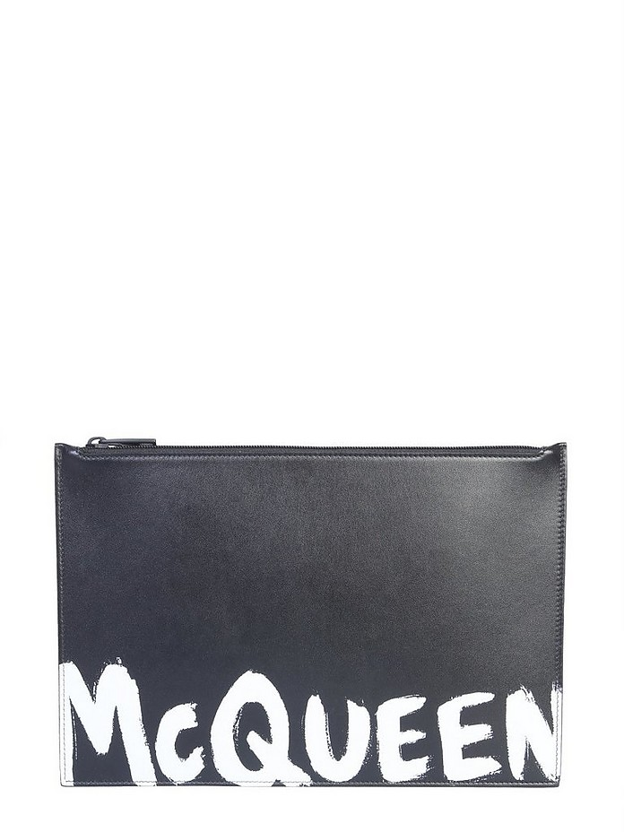 Black Leather Clutch With Logo - Alexander McQueen