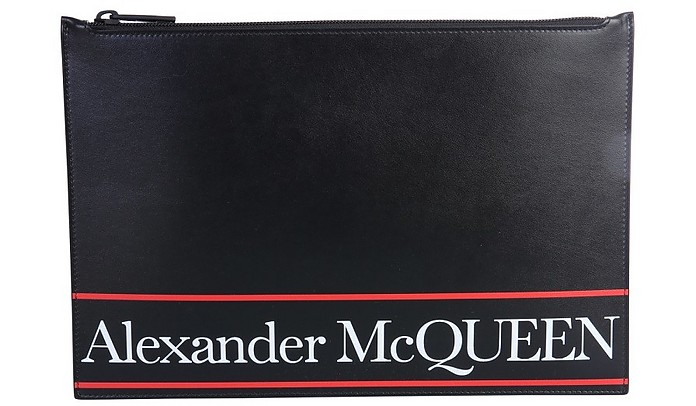 Black Signature Print Men's Clutch - Alexander McQueen / アレキサンダーマックイーン