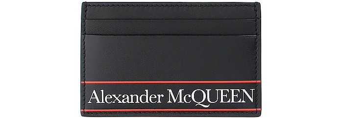 Black and Red Signature Card Holder - Alexander McQueen