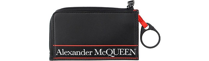 Black and Red Signature Coin Purse  - Alexander McQueen