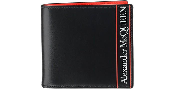 Black & Red Signature Bi-Fold Men's Wallet - Alexander McQueen