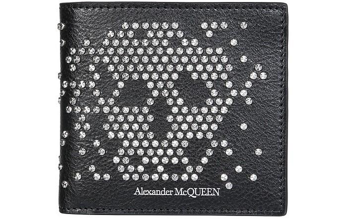 Black Leather Men's Wallet With Studs - Alexander McQueen
