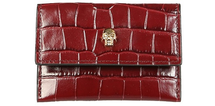 Croco Embossed Leather Flap Card Holder - Alexander McQueen