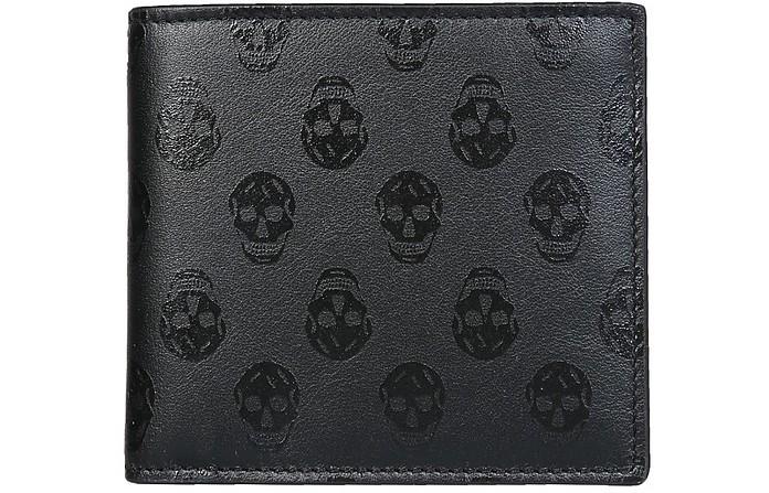 Black Skull Embossed Leather Bifold Wallet - Alexander McQueen