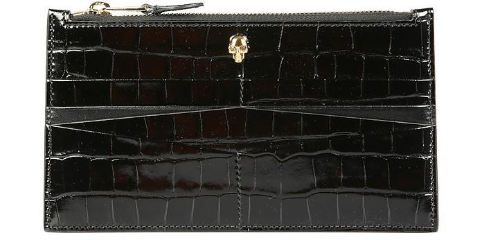 Black Croco Embossed Leather Flat Credit Card Holder  With Zip - Alexander McQueen