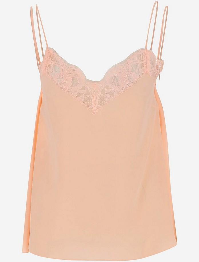 Peach Pink Silk Women's V-Neck Top - Alexander McQueen