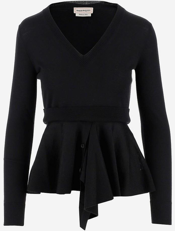 Wool & Cashmere Women's V-neck Sweater - Alexander McQueen