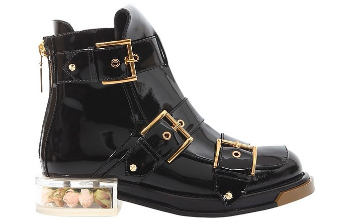 Black Patent Leather Buckle Boots - Alexander McQueen