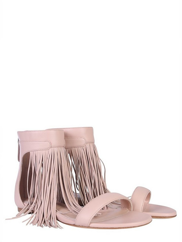 Pale Pink Leather Sandal w/ Long Fringes - Alexander McQueen