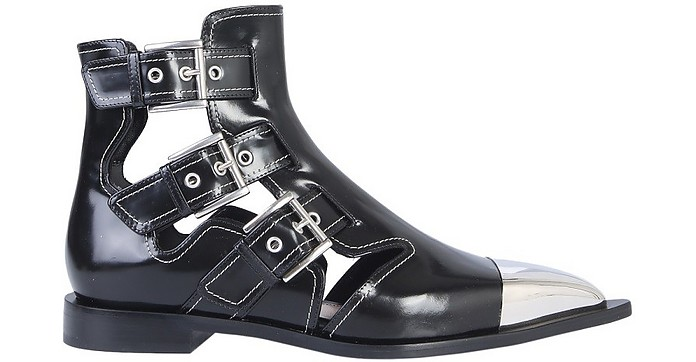 Black Leather Cage Boots - Alexander McQueen