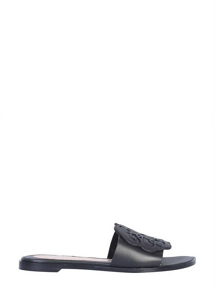 Black Signature Leather Flat Slide Sandals - Alexander McQueen