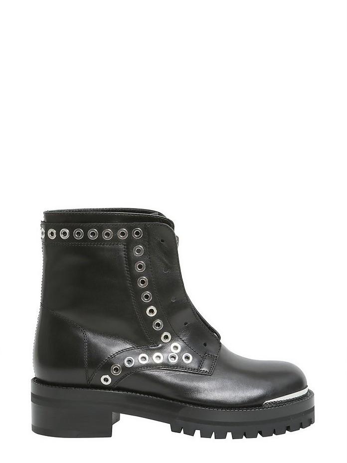 Black Leather Biker Boots w/Eyelets - Alexander McQueen