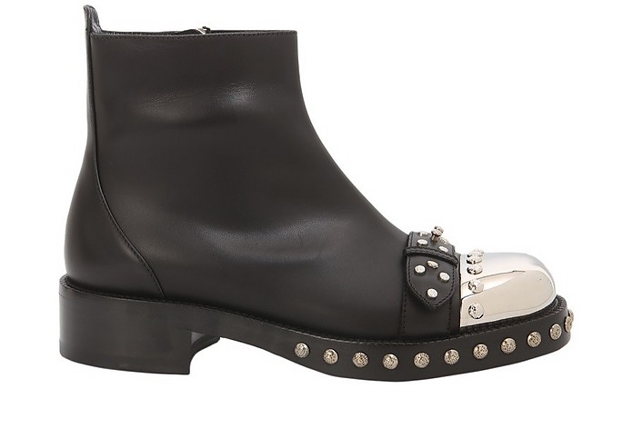 Black Leather Hobnail Studs Boots - Alexander McQueen