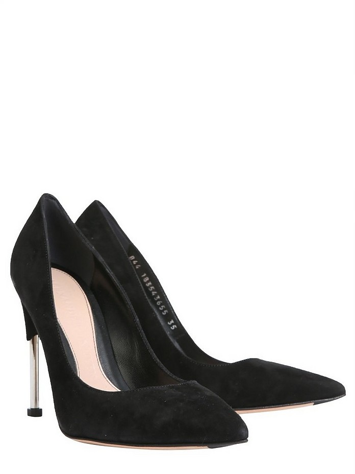 Black Suede Metal Stiletto Heel Pumps - Alexander McQueen