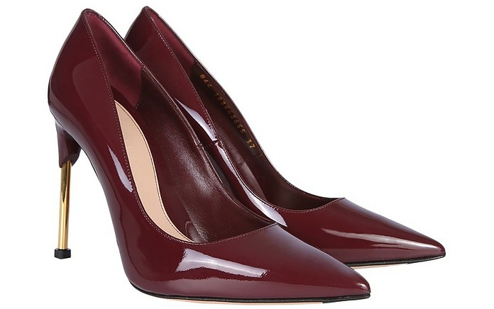 Burgundy Patent Leather Pumps w/Metal Heel - Alexander McQueen