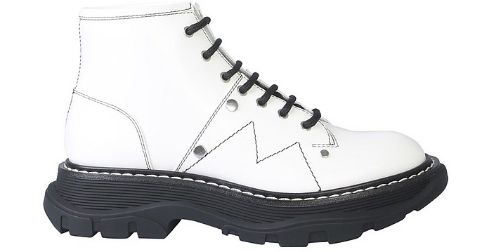 White Leather Ankle Boot w/Laces And Tread Sole - Alexander McQueen