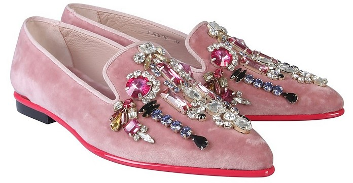 Pink Velvet Crystals Loafer Shoes - Alexander McQueen