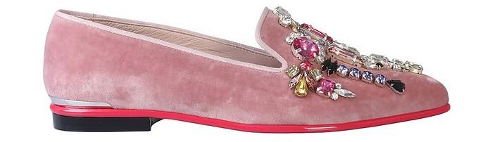 Pink Velvet Crystals Loafer Shoes - Alexander McQueen