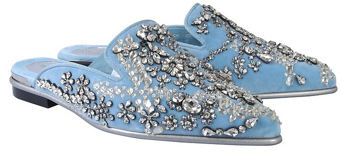Light Blue Velvet & Crystals Mules - Alexander McQueen