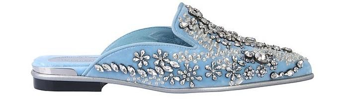 Light Blue Velvet & Crystals Mules - Alexander McQueen