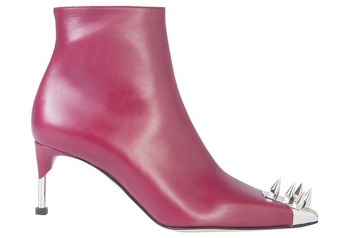 Burgundy Leather Boots  w/Punk Studs - Alexander McQueen