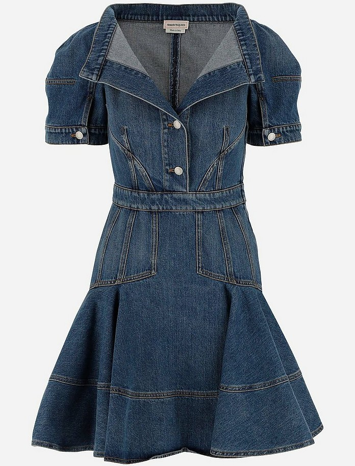 Blue Denim Short Balloon Sleeves Women's Dress - Alexander McQueen / アレキサンダーマックイーン