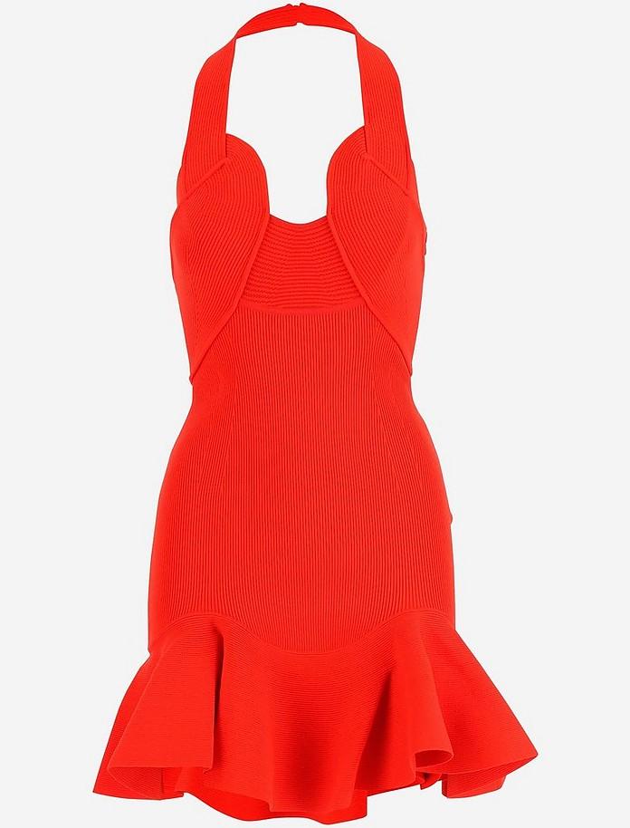 Red Stretch Knit Cotton Women's Mini Dress - Alexander McQueen