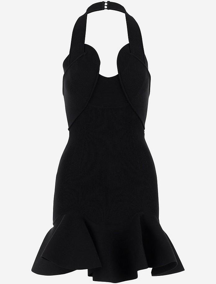 Black Stretch Knit Cotton Women's Mini Dress - Alexander McQueen