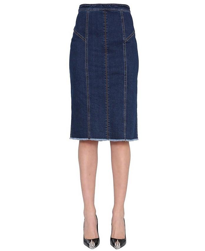 Denim Pencil Skirt - Alexander McQueen