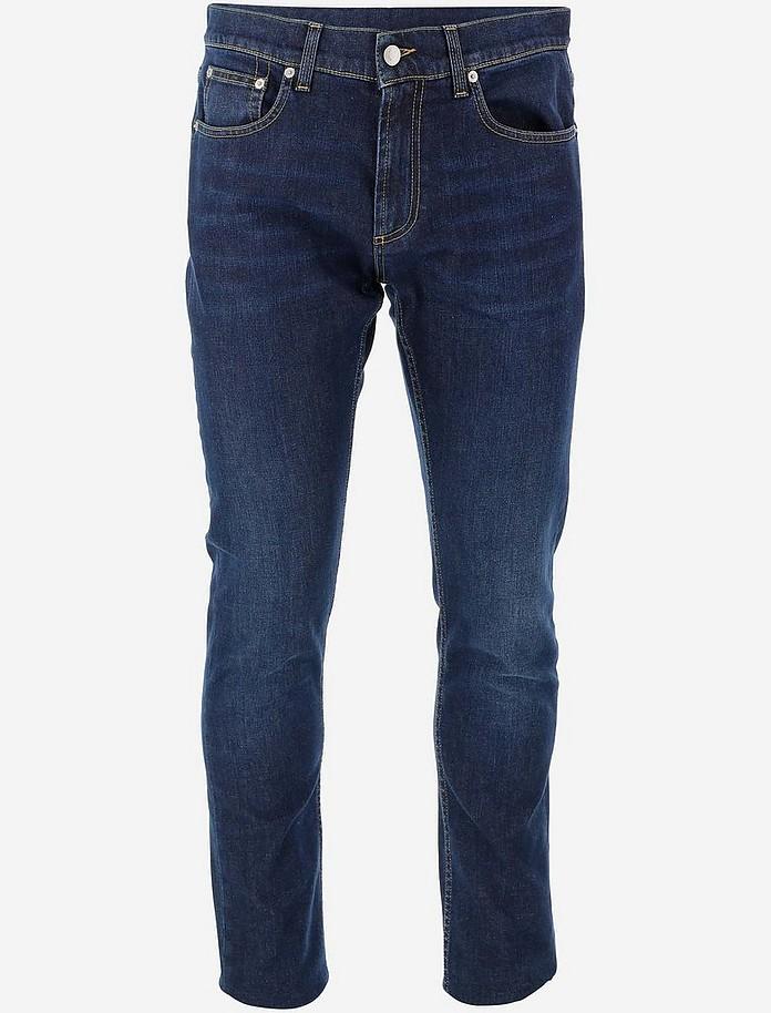 Regular Fit Blue Cotton Denim Men's Jeans - Alexander McQueen / アレキサンダーマックイーン