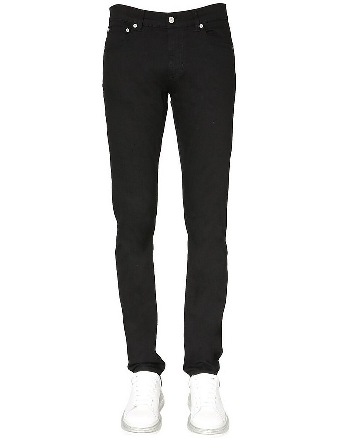 Jeans With Skull Patch - Alexander McQueen