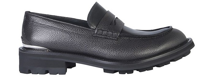 Black Embossed Leather Men's Loafer Shoes - Alexander McQueen